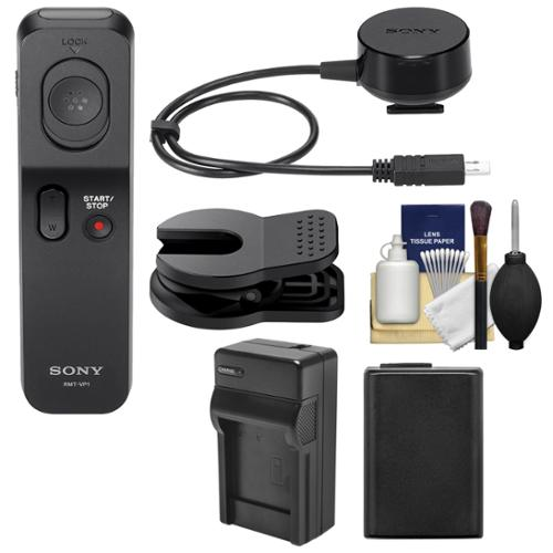 Sony RMT-VP1K Wireless Remote Shutter Controller with NP-FW50 Battery + Charger + Cleaning Kit for Alpha A3000, A7 Mark II Digital Camera