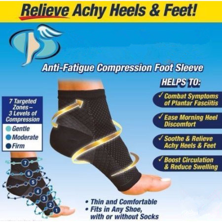 Pair Compression Foot Sleeves for Men & Women - BEST Plantar Fasciitis Socks for Plantar Fasciitis Pain Relief, Heel Pain, and Treatment for Everyday Use with Arch Support