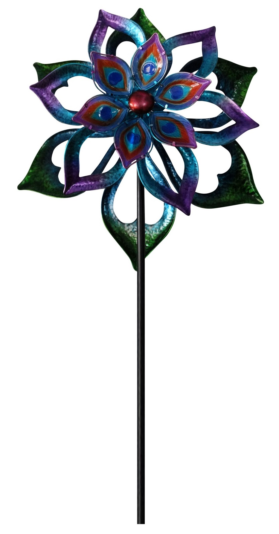 Double-Sided Flower Spinning Garden Stake by Benzara