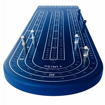 Quality Blue Cribbage Board by Gapple, Durable Aluminum Material, Precise Engraving, Gorgeous Anodized Finish, Color Variety, Metal Scoring Pegs and Convenient Peg Storage ()