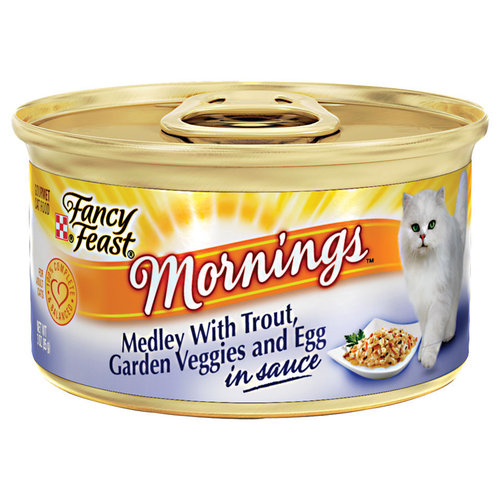 Purina Fancy Feast Mornings Medley with Trout, Garden Veggies and Egg Cat Food, 3 oz Can