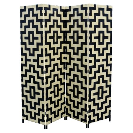 Black/Natural Paper Straw Weave 4 Panel Screen On 2
