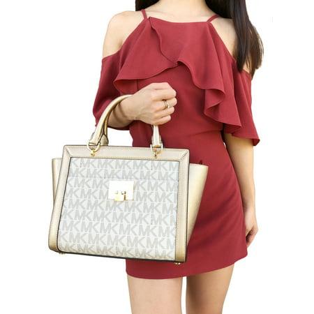Michael Kors Tina Large Top Zip Satchel Handbag Crossbody Vanilla MK Gold