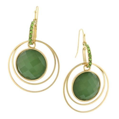 1928 Jewelry Gold-Tone Green Faceted Suspended Peridot Crystal Hoop Earrings NEW