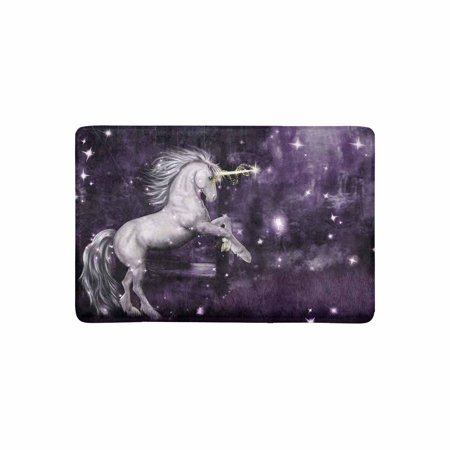 MKHERT Unicorn in a Purple Magical Forest at Night Doormat Rug Home Decor Floor Mat Bath Mat 23.6x15.7 inch - Unicorn In Forest