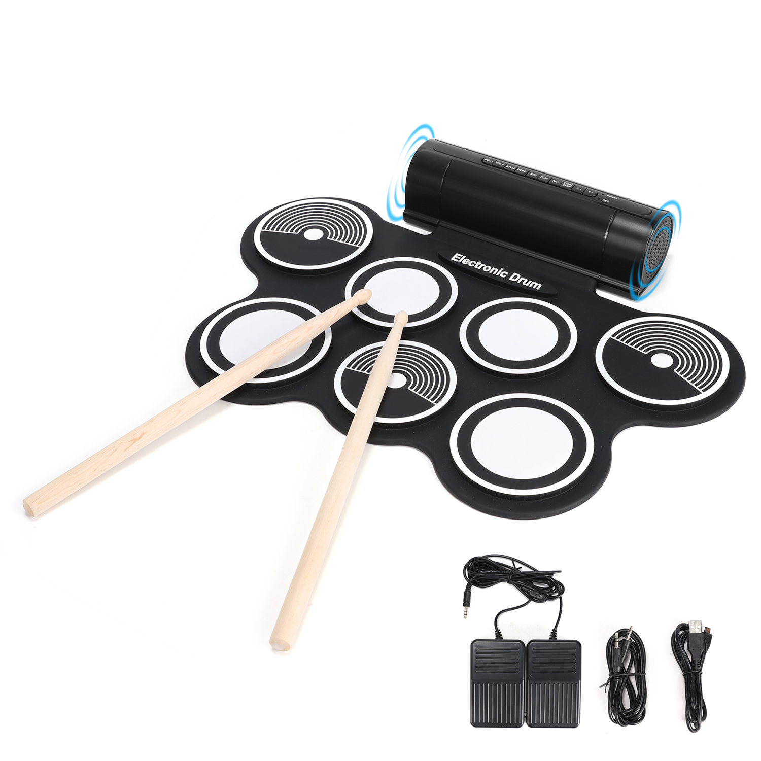 Donner Roll Up Drum Electronic Drum for Kids Starters, Built in Speaker by Donner