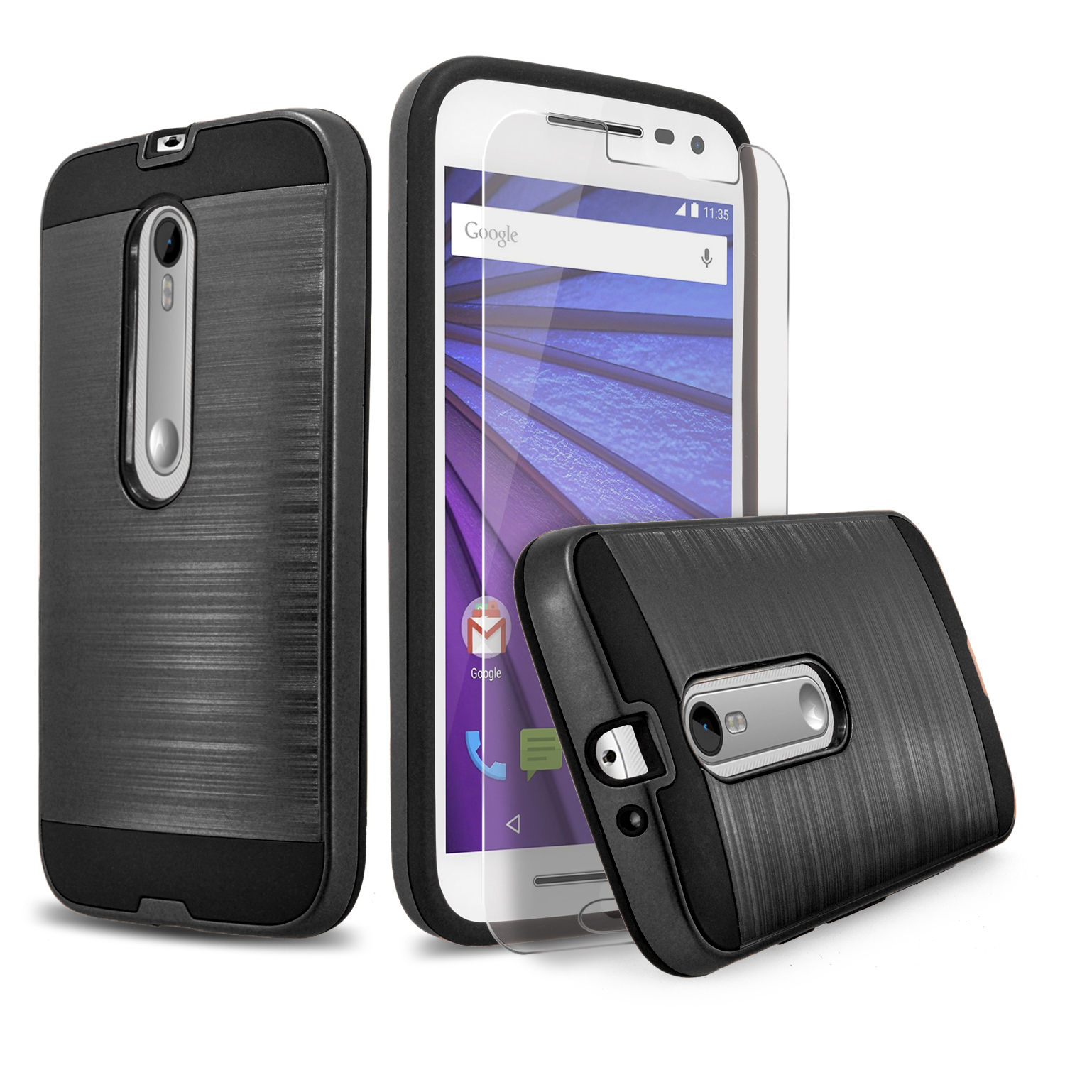Droid Maxx 2 Case, 2-Piece Style Hybrid Shockproof Hard Case Cover with [Premium Screen Protector] Hybird Shockproof And Circlemalls Stylus Pen (Black)