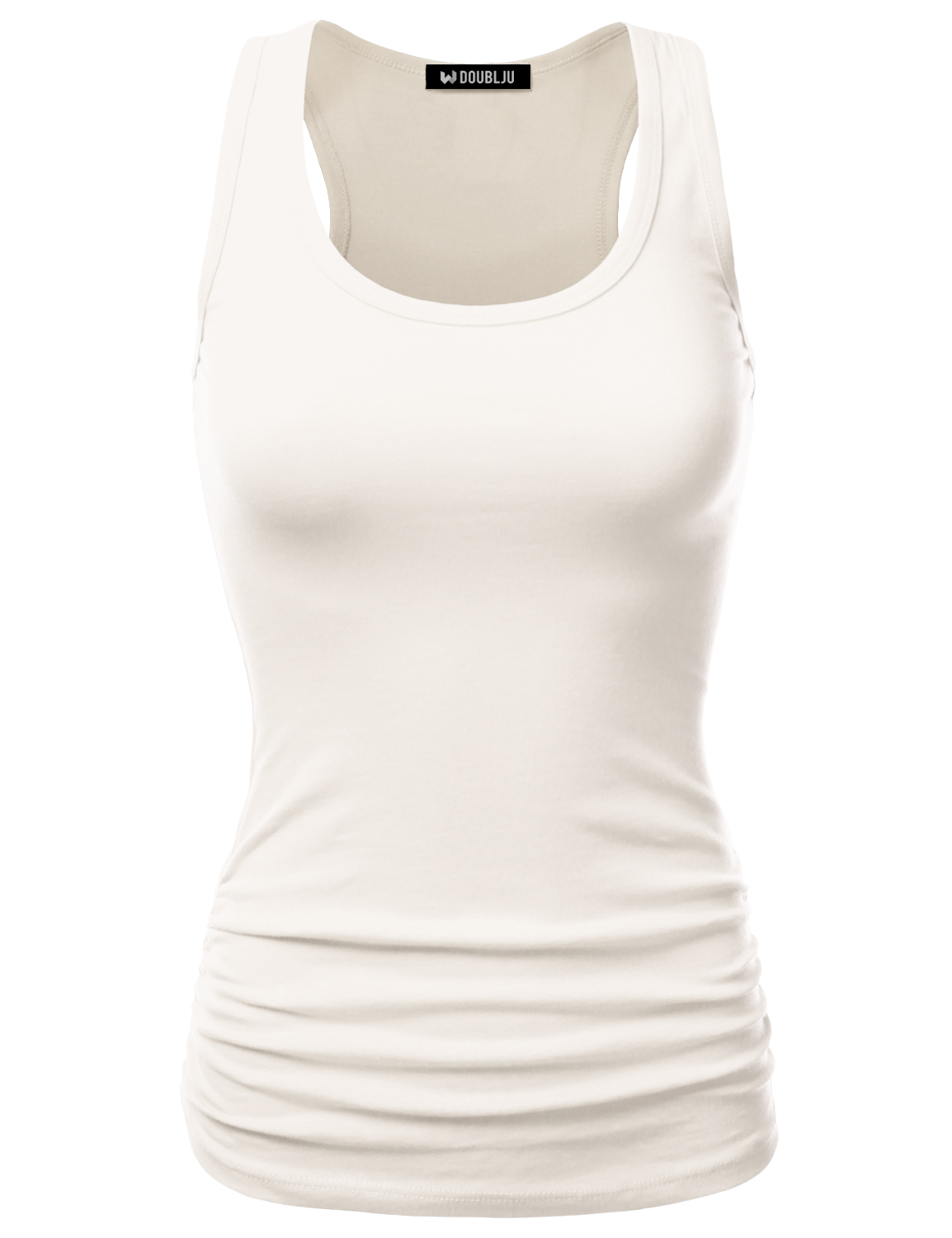 e0670a02b73ba Doublju Women s Cute Yoga Workout Mesh Tank Top Activewear Sexy Sports Shirt  IVORY XL