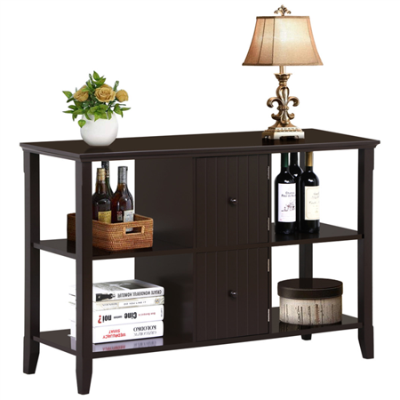 Yaheetech 3 Tier Solid Wood Console Sofa Table w/2 Grooved Cubby Storage Espresso Finished - Walmart.com