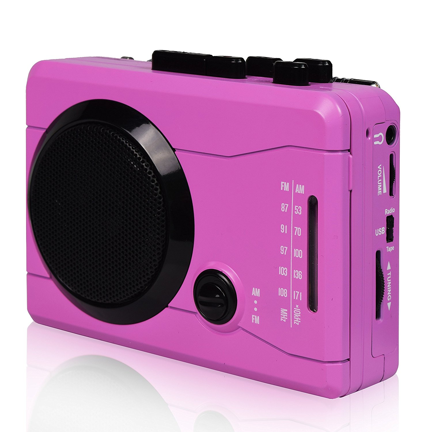 Cassette Tape To MP3 CD Converter Via USB, Mini Personal cassette mp3 converter & Cassette Player-Wireless AM/FM Radio and Voice Radio Cassette Recorder with Stero Speaker/Earphone(Pink)