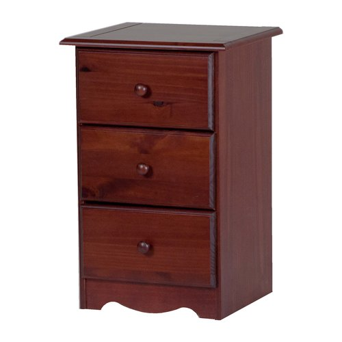100% Solid Wood 3-Drawer Night Stand 5622 by Palace Imports, Mahogany Color