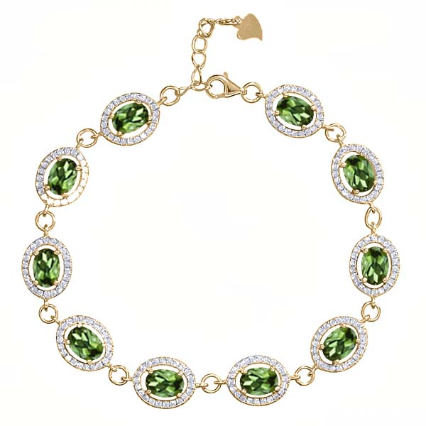 11.38 Ct Oval Green Tourmaline 18K Yellow Gold Plated Silver Bracelet by