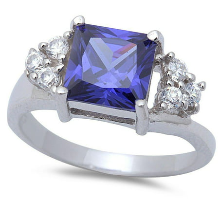 Sterling Silver Square Synthetic Tanzanite Clear CZ Ring Sizes 8