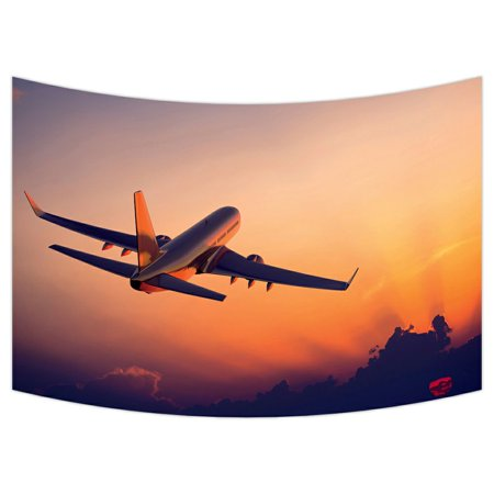 ZKGK Airplane Tapestry Wall Hanging Wall Decor Art for Living Room Bedroom Dorm Cotton Linen Decoration 90x60 Inches