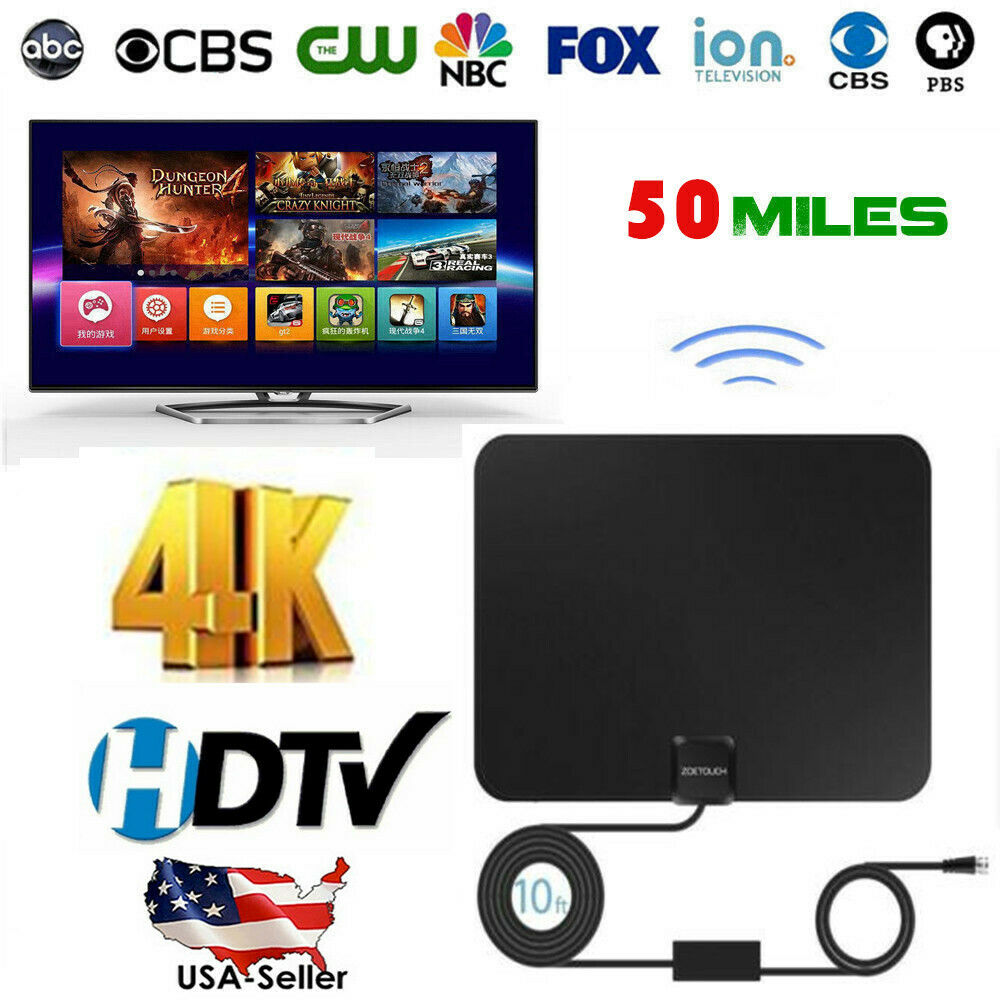 1byone Indoor Ultra Thin Flat TV Antenna Amplified FM//VHF//UHF HDTV 35 Miles Coax