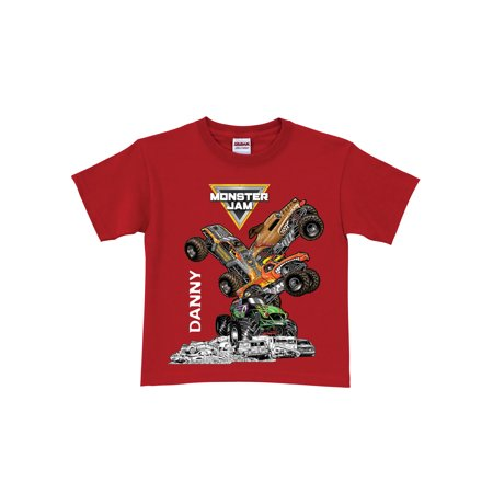 Personalized Monster Jam Stack-Up Boys' Youth T-Shirt, Red