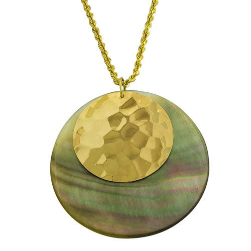 Fremada Jewelry Yellow Gold Mother of Pearl Necklace