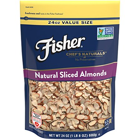 Fisher Non-GMO, No-Preservatives, Heart Healthy Sliced Almonds, 24 (Tagua Nut Slices)