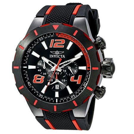 Men's S1 Rally Chrono Black and Red Polyurethane Black Dial and - Mens Commander Red Dial