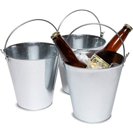 Juvale 3-Pack Galvanized Metal Ice Bucket Pails for Beer, Drinks, and Party Decorations, 7 Inches ()