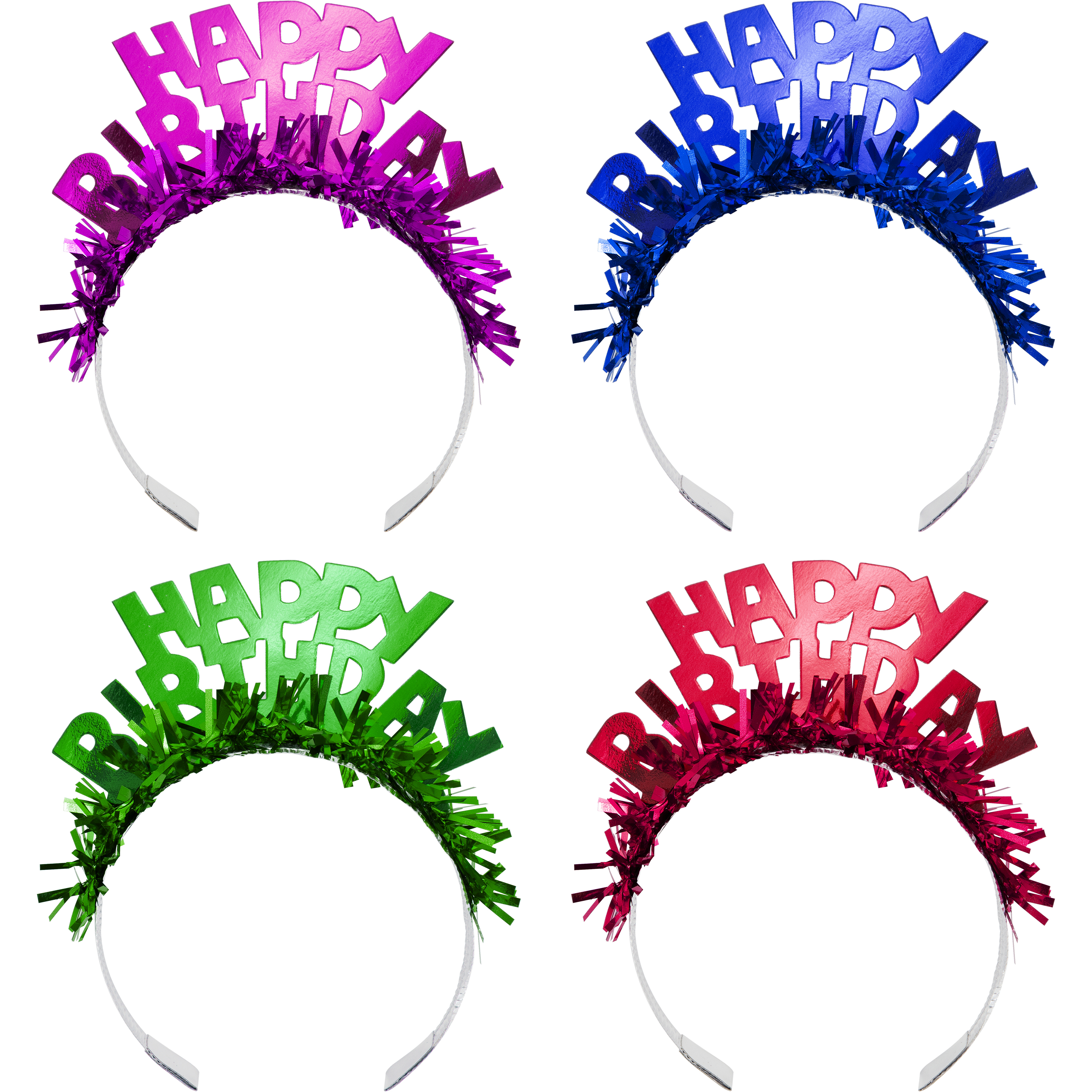 Happy Birthday Foil Tiaras with Fringe, 4 count