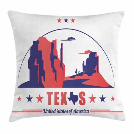 Texas Star Throw Pillow Cushion Cover, Texas State Map with Cowboy Silhouette among Canyons Desert Design, Decorative Square Accent Pillow Case, 24 X 24 Inches, Indigo and Dark Coral, by Ambesonne