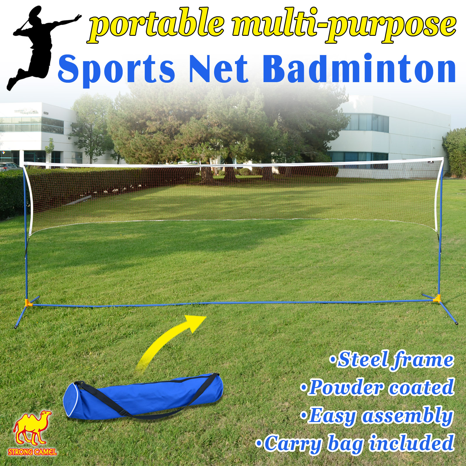 LARGE Volleyball Badminton Tennis Net Portable Training Beach with carrying bag STAND