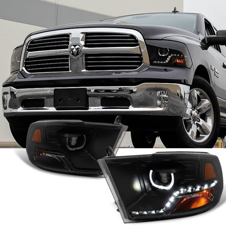 Fit [Mono-Eye Technology] 09-18 Ram 1500 2500 3500 Halo LED Blk Smoke