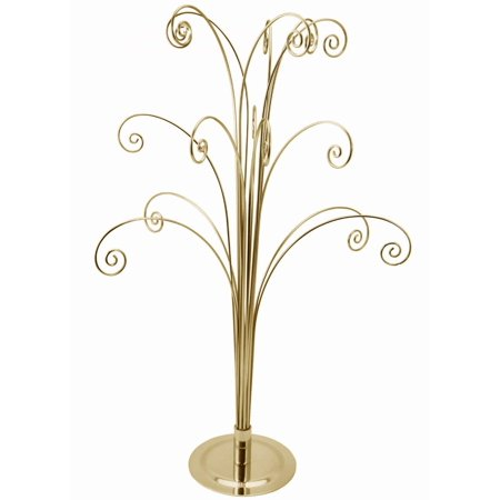 Creative Hobbies 20 Inch Tall Ornament Display Tree, Bright Brass Plated, Holds 15 Ornaments ()