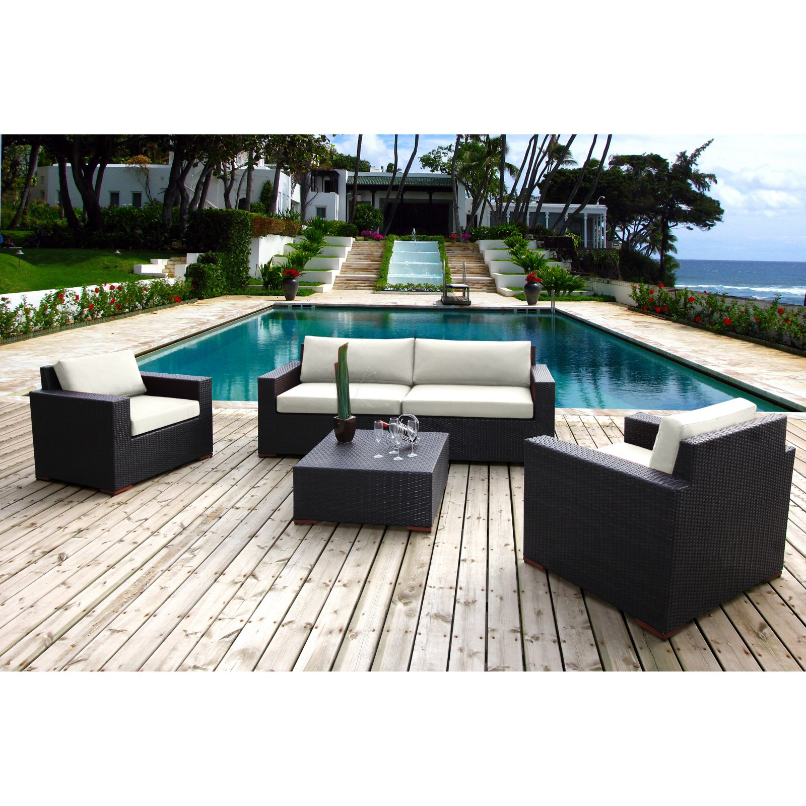 Bellini Home and Gardens Primland Wicker 5 Piece Patio Deep Seating Sofa Conversation Set, Silver