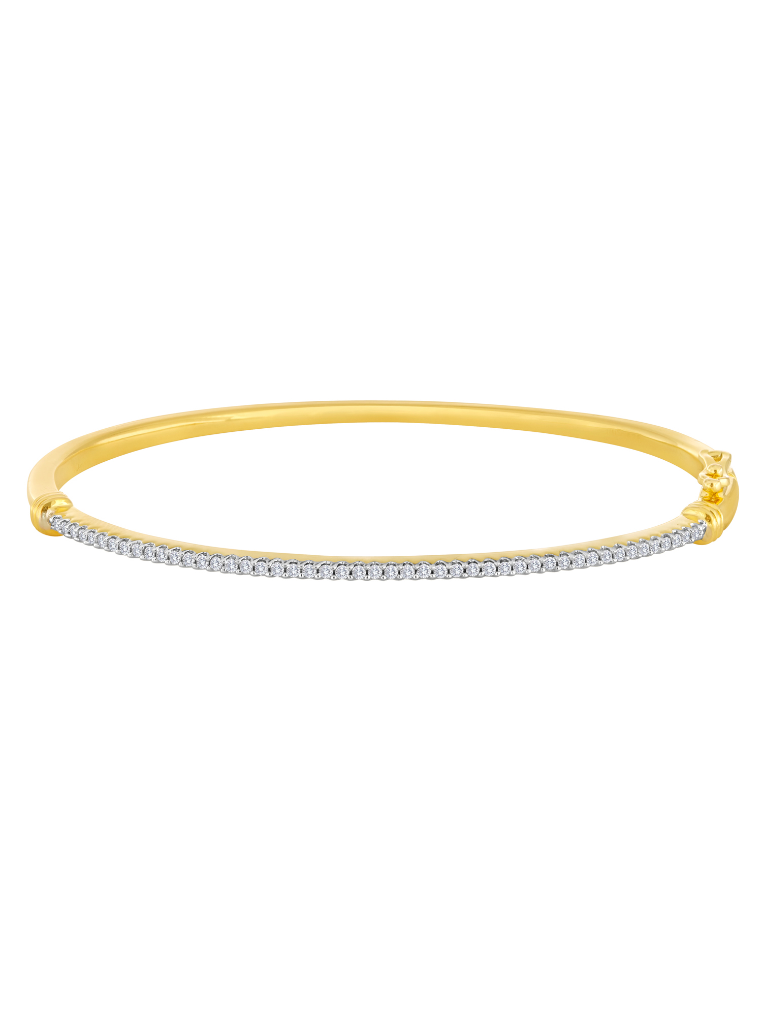 14kt Yellow Gold over Sterling Silver 1/2 Carat T.W. Diamond Bangle, 7