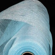 """Pastel Blue and Silver Deco Mesh Craft Ribbon 21"""" x 40 Yards"""