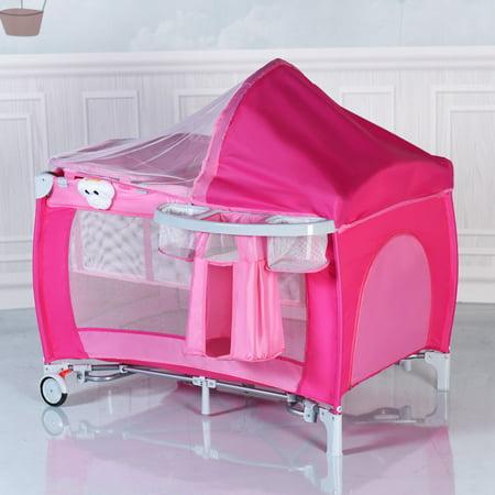 Foldable Baby Crib Playpen Travel Infant Bassinet Bed ...