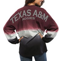 Texas A&M Aggies Women's Ombre Long Sleeve Dip-Dyed Spirit Jersey - Maroon