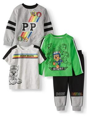 Paw Patrol Short Sleeve Graphic T-shirt, Long Sleeve Graphic Raglan T-shirt, Pullover Graphic Sweater, Drawstring Colorblock Joggers, 4pc Set (Toddler Boys)