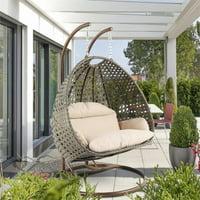 LeisureMod Outdoor Modern Wicker Hanging Double Egg Swing Chair in Beige