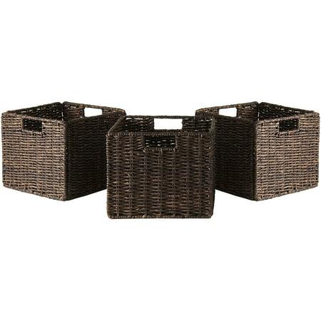 Winsome Wood Granville 2-PC Small Folding Corn Husk Baskets, Chocolate