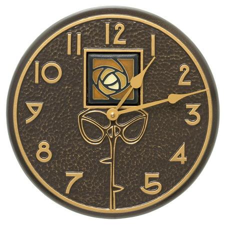 Whitehall Products Amber Dard Hunter Rose 12-in. Indoor/Outdoor Wall Clock Dard Hunter Studios