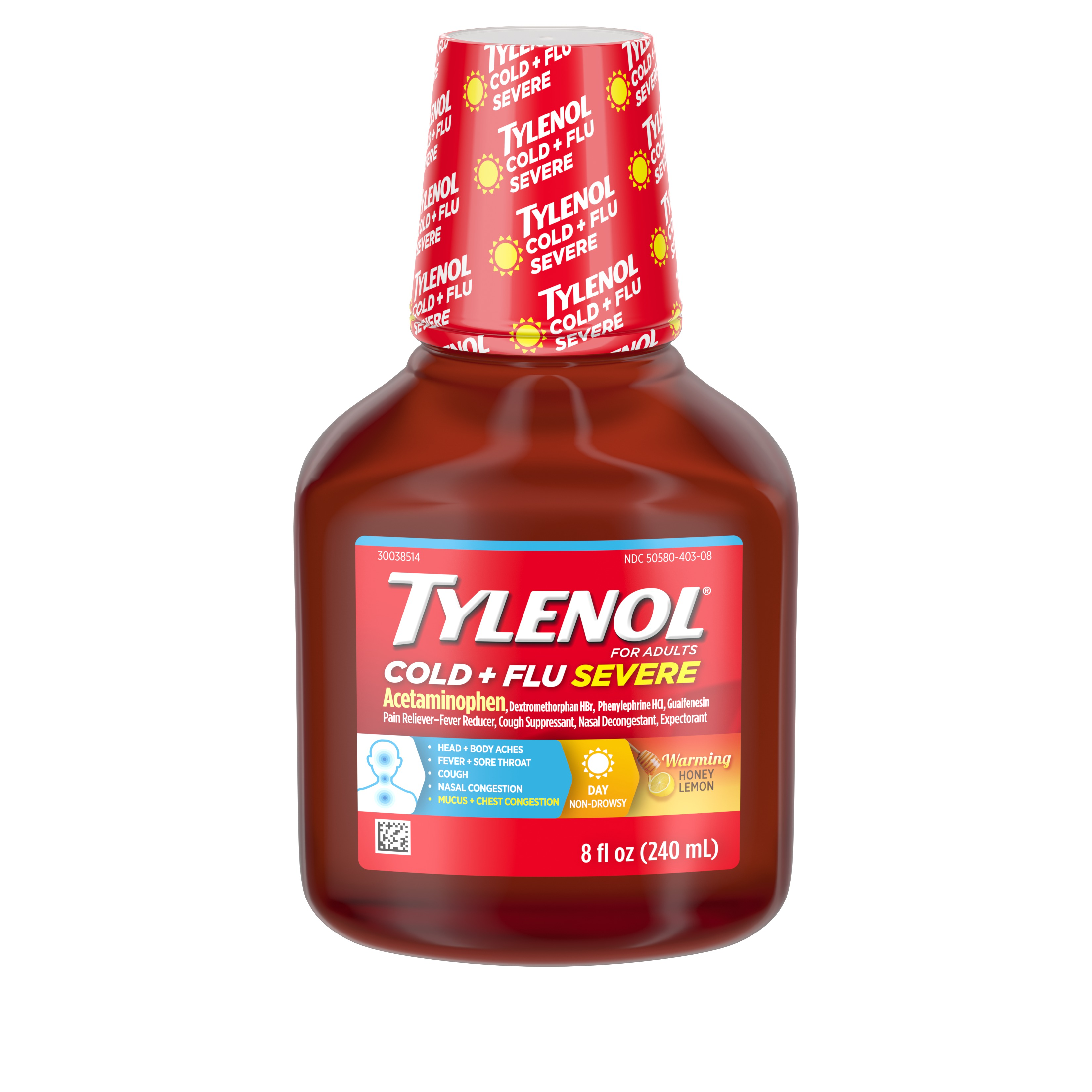 Tylenol Cold + Flu Severe Flu Medicine, Honey Lemon Flavor, 8 fl. oz