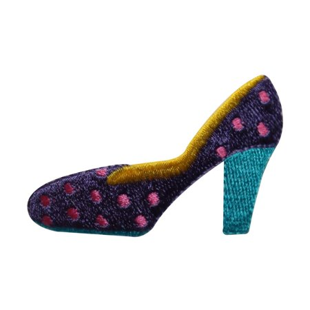 Polka Dot Heels Shoes - ID 7343 Polka Dot Heel Shoe Patch Fashion Slipper Embroidered Iron On Applique