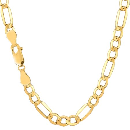 - Men's 10K Yellow Gold 5.4mm Hollow Figaro Link Chain Necklace 18