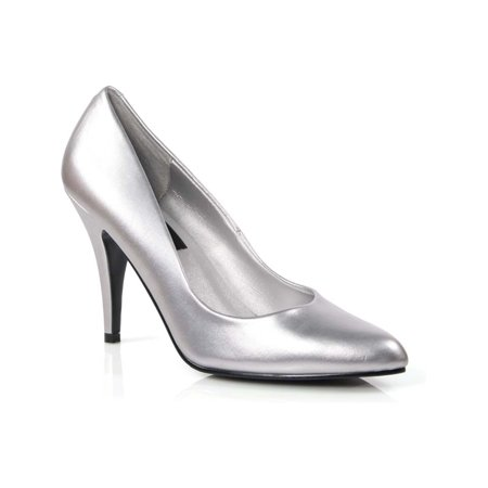 4 Inch Womens Sexy Shoes Wear To Work Shoes Classic Pump Shoes Silver ()