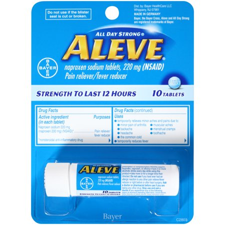 Aleve Pain Reliever/Fever Reducer Naproxen Sodium Tablets, 220 mg, 10 (Best Medicine To Reduce Fever)