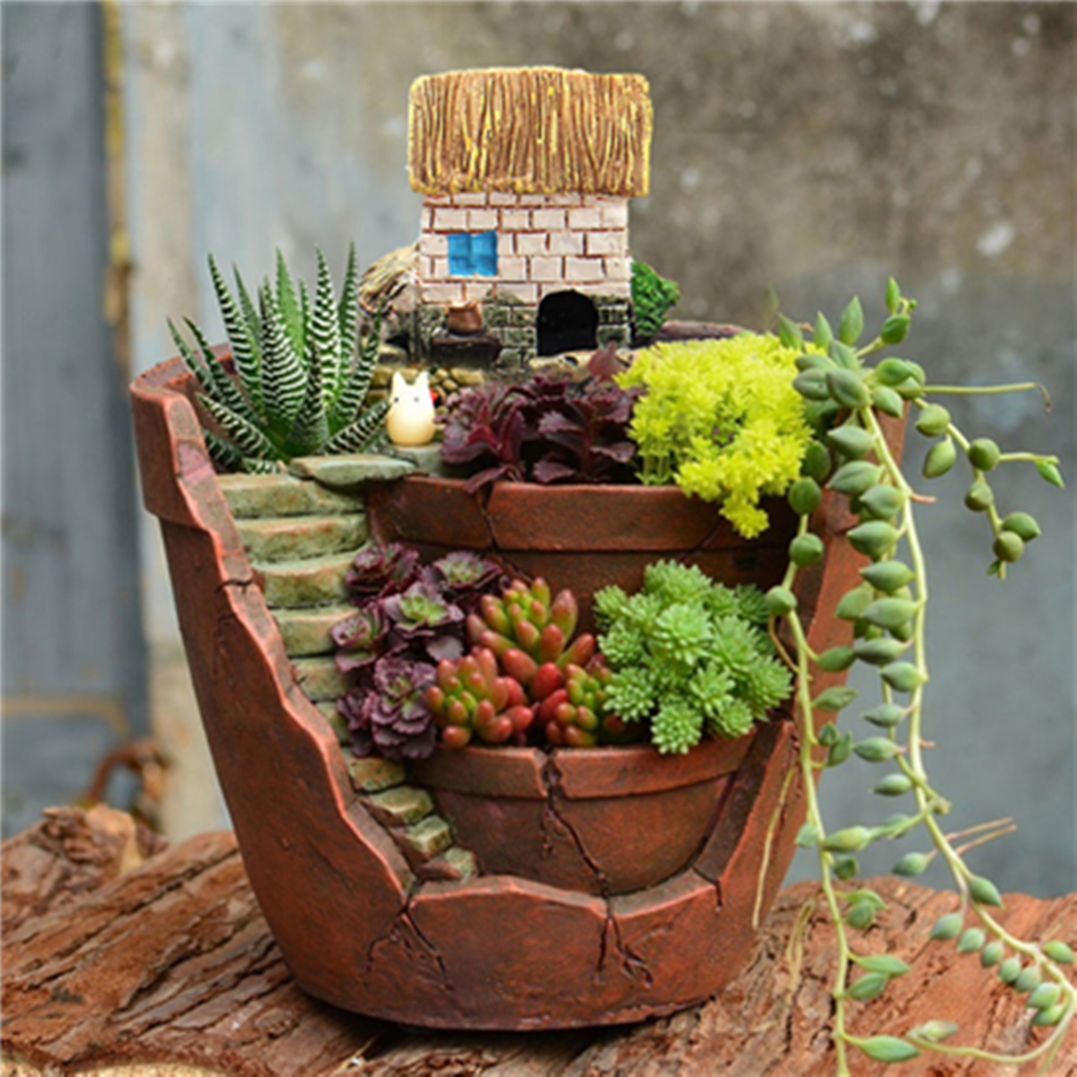 Succulent Herb Flower Basket Planter Plant Sky Bonsai Green Plants Resin Pot Garden House Home Decor