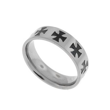 Titanium Cross Rings (Mens Titanium Black Celtic Iron Cross Band Ring )