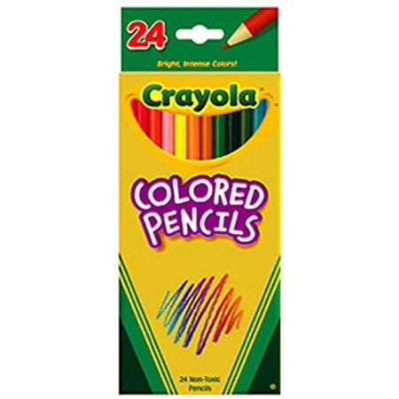 Crayola Products - Crayola - Pencils Long Cannon Woodcase Color, 3.3mm, 24 Assorted Colors / Set - Sold as 1 Set - Presharpened Points. - Bright colors and smooth Laydown. - Crayola Products