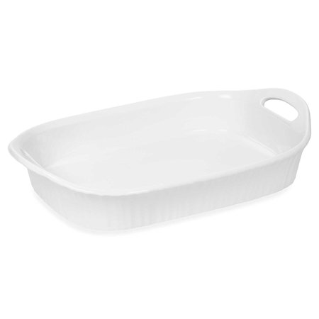 Oblong Oven Dish (French White III 3-Quart Ceramic Oblong Casserole Dish with Sleeve | Oven, Microwave, Refrigerator and Freezer Safe, Flared rim and handles provide a secure.., By CorningWare)