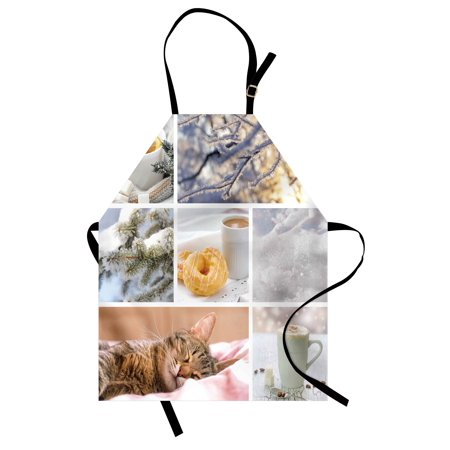 Winter Apron Snowy Morning with Sleeping Cat Coffee Donuts Icy Tree Branch Comfort Collage Art, Unisex Kitchen Bib Apron with Adjustable Neck for Cooking Baking Gardening, Multicolor, by Ambesonne