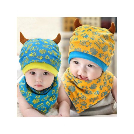 7dd1cf0f86d Baby Cute Cartoon Little Monster Horn Cotton Triangular Towel Hats Beanie  Sets - Walmart.com