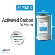 50 Pack 2.5 x 5 In Carbon Block Water Filter Whole House RO CTO 20 Micron